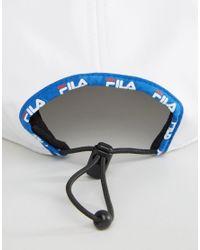 Fila - White Runner Cap With Big Logo & Toggle Adjuster for Men - Lyst