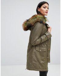 Lipsy | Green Faux Fur Hood Trim Parka | Lyst
