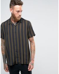 d3e5635f4e Men's Viscose Shirt In Khaki And Black Stripe With Revere Collar In Regular  Fit