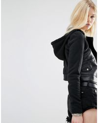 Noisy May Petite | Hooded Faux Leather And Jersey Biker Jacket - Black | Lyst