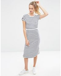 ASOS - Blue Waisted T-shirt Midi Dress In Stripe - Lyst