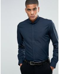 Hart Hollywood   Blue By Nick Hart Slim Smart Shirt With Curve Collar Shirt for Men   Lyst