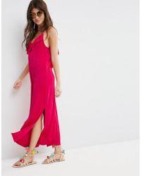 ASOS - Pink Slinky Maxi Dress With Asymmetric Frill Detail - Lyst