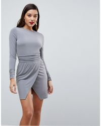 ASOS - Gray Wrap Mini Dress With Ruched Details - Lyst