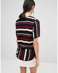 Y.A.S - Black Luba Contrast Stripe Print Woven Top - Lyst