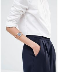Pilgrim - Blue Gold Plated Ajustable Cuff Bracelet With Stone - Lyst