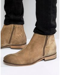 ASOS - Brown Chelsea Boots In Stone Suede With Double Zip for Men - Lyst