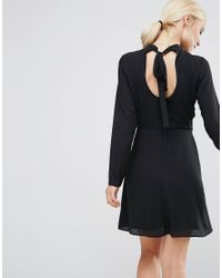 ASOS | Black High Neck A-line Dress With Open Back | Lyst