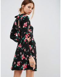 ASOS | Black High Neck Skater Dress With Open Back In Floral | Lyst