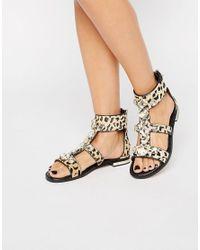 ALDO - Multicolor Leopard Print Gem Stone Sandals - Lyst