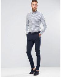 ASOS - Blue Skinny Stripe Shirt In Navy for Men - Lyst