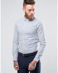ASOS | Blue Skinny Stripe Shirt In Navy for Men | Lyst