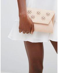 Lavand - Pink Embellished Envelop Clutch Bag - Lyst