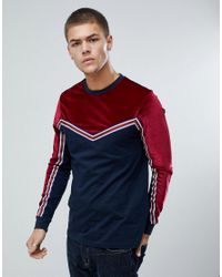 ASOS - Blue Long Sleeve T-shirt In Velour With Taping for Men - Lyst