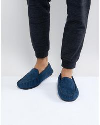 New Look - Blue Moccason Slipper In Navy for Men - Lyst
