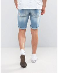 11 Degrees - Blue Super Skinny Shorts With Distressing for Men - Lyst