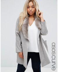 ASOS   Gray Coat With Asymmetric Detachable Fur Collar   Lyst