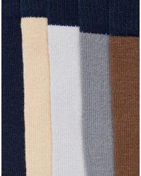 ASOS - Blue Socks 5 Pack for Men - Lyst