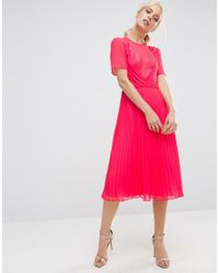ASOS | Pink Lace And Pleat Skater Midi Dress | Lyst