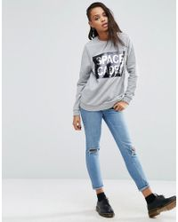 ASOS - Gray Sweatshirt With Space Cadet Sequins - Lyst
