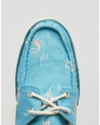 Timberland | Blue Hookset Print Boat Shoes for Men | Lyst