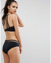 ASOS - Black Large Fishnet Cut Out Halter Bikini Top - Lyst