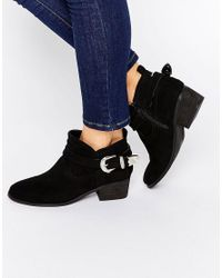 ASOS | Black Ada Western Ankle Boots | Lyst