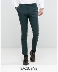Number Eight Savile Row | Green Skinny Suit Trouser In Micro Herringbone for Men | Lyst