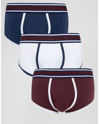 ASOS - Blue U Bound Hipsters With Stripe Waistband 3 Pack for Men - Lyst