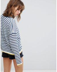 Blend She - Blue Lola Pu Striped Sweater - Lyst
