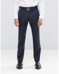 Reiss   Blue Tonal Check Pants In Modern Slim Fit for Men   Lyst