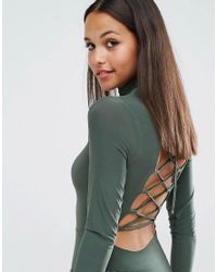 Club L - Green High Neck Bodysuit With Lace Up Back - Lyst