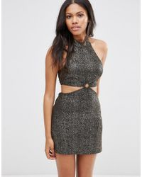 Motel | Black Vail Dress With Cut Out Waist In Shimmer Fabric | Lyst