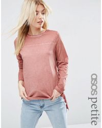 ASOS | Pink Longline Top In Oil Wash With Seam Detail | Lyst