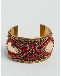 ASOS | Red Embellished Stone Cuff Bracelet | Lyst