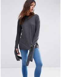 ASOS | Gray Top In Longline With Long Sleeve And Tie Cuff Detil | Lyst