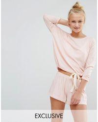 Chelsea Peers - Pink Soft Peachy Tie-waist Pj Short Set - Lyst