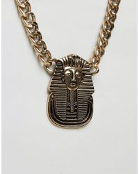 ASOS - Metallic Necklace With Egyptian Pendant In Gold for Men - Lyst
