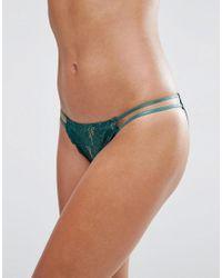 Wolf & Whistle   Deep Green Lace Tanga Side Brazilian Brief - Deep Green   Lyst