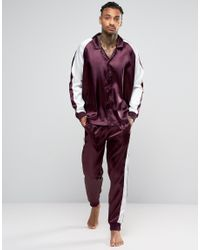 ASOS - Purple Loungewear Satin Pyjama Bottoms With Cut & Sew for Men - Lyst