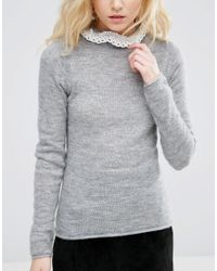 ASOS - Gray Sweater In Mohair With Lace Neck Detail - Lyst