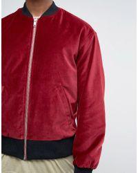 ASOS | Red Velvet Bomber With Ruching Detail In Burgundy for Men | Lyst