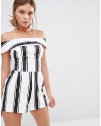 New Look - Black Stripe Bardot Playsuit - Lyst