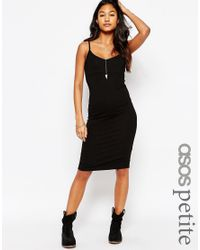 ASOS | Black Midi Cami Bodycon Dress | Lyst