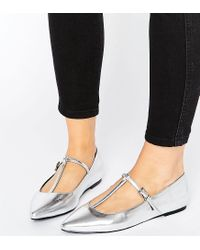 ASOS - Metallic Long Life Wide Fit Pointed Ballet Flats - Lyst