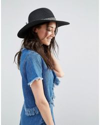 55a08ae20a0 Liquorish Floppy Straw Hat in Black - Lyst