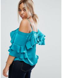 ASOS - Blue Curve Off The Shoulder Top In Satin With Ruffle Sleeve - Lyst