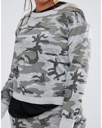 Boohoo - Gray Camo Lounge Jumper Co-ord - Lyst