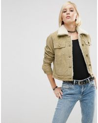 ASOS | Natural Cord Cropped Jacket In Stone With Borg Lining And Collar | Lyst