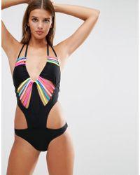 Boohoo - Black Multi Strap Swimsuit - Lyst